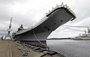 Admiral Gorshkov, the Soviet-era aircraft carrier bought by India, is anchored at the Sevmash factory in the northern city of Severodvinsk