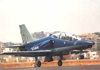 A trainer aircraft takes off from an IAF airbase