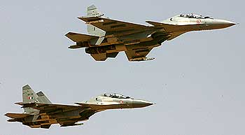 Sukhoi-30 aircraft in action during the joint army and air force Air-Land battle exercise named 'Brazen Chariots' at the Pokharan firing range
