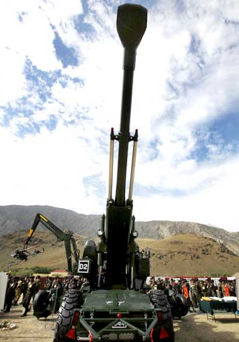 A 155 mm Bofors artillery gun