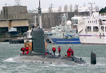 The Scorpene submarine docked at a French naval base