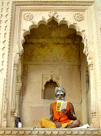 A Sadhu prays outside a temple on the occasion of Janmashtami in the pilgrimage town of Vrindavan