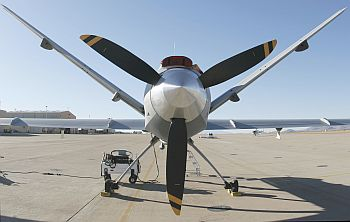 A turboprop MQ-9 Predator B drone on the tarmac at Fort Huachuca, Arizona, US