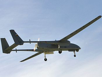 A new Heron spy drone flies during an inauguration ceremony at the Palmachim air base in Israel