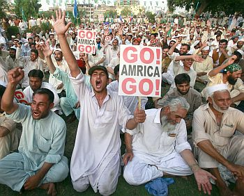 A photograph of an anti-American rally in Peshawar