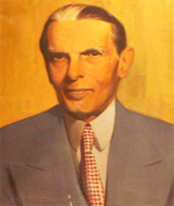 A portrait of Jinnah, the founder of Pakistan