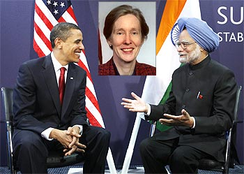 Obama with Manmohan Singh during the G20 Summit in London last April. (Inset) Teresita C Schaffer