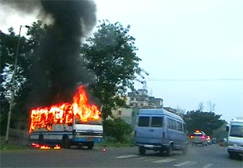 The school bus on fire