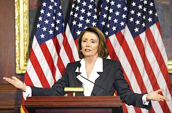 Speaker of the House Rep Nancy Pelosi speaks during a news conference in the US Capitol in Washington