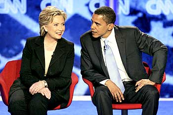 Hillary Rodham Clinton with US President Barack Obama at Saint Anselm College in Manchester, New Hampshire
