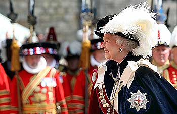 Britain's Queen Elizabeth attends the Order of the Garter service at St George's Chapel at Windsor Castle in Windsor