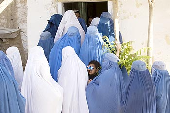 Women wait in line to vote in the Afghan election in Mazar-e-Sharif in northern Afghanistan
