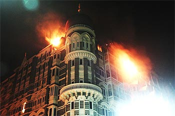Mumbai's Taj Mahal hotel ablaze during the terror attacks last November.