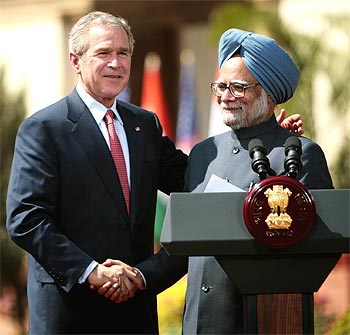 Then US president George W Bush with Prime MinisteManmohan Singh, the key architects of the N-deal.