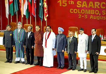 Leaders at the SAARC summit in Colombo.