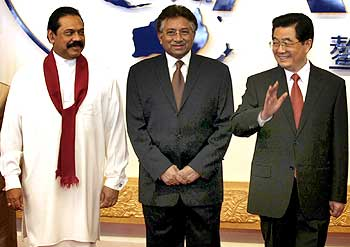Chinese President Hu Jintao, Pervez Musharraf, Sri Lanka President Mahinda Rajapaksa