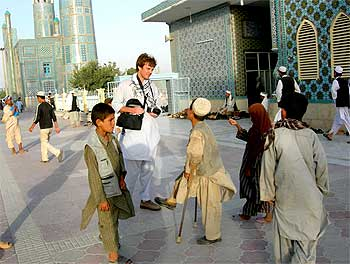 Nicholas Schmidle at the Great Mosque in Herat, Afghanistan.