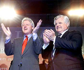 Ted Kennedy with Bill Clinton. Clinton was a staunch admirer of the Kennedys