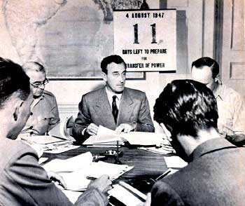 Lord Mountbatten preparing on the final stages of India's Partition