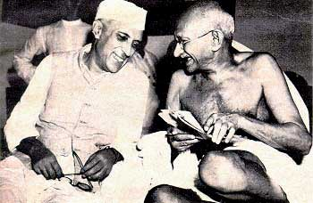 Nehru shares a lighter moment with Mahatma Gandhi