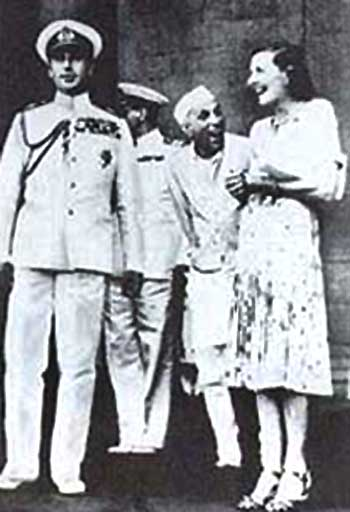 Lord Mountbatten, Jawaharlal Nehru and Lady Mountbatten share a light moment preparing for the final stages of freedom for India