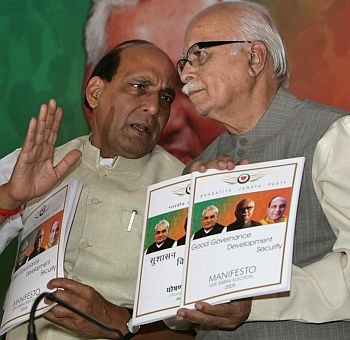 BJP chief Rajnath Singh with senior leader LK Advani