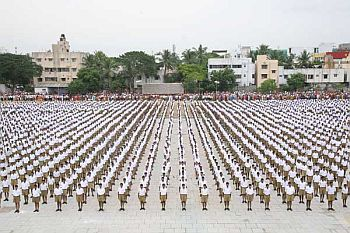 RSS cadre attend a convention in Kolkata