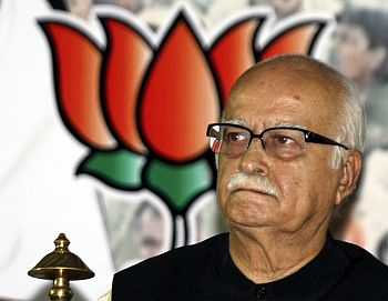 Advani attends a party meeting in Ahmedabad