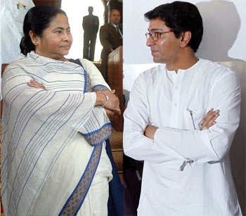 A collage of Railway Minsiter Mamata Banerjee and MNS president raj Thackeray
