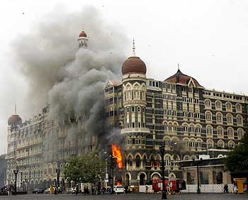The Taj Mahal Hotel burns during the 26/11 terror strike in Mumbai