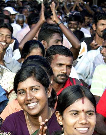 Lankan Tamil IDPs react when they hear news that they can leave the camp at Vavuniya