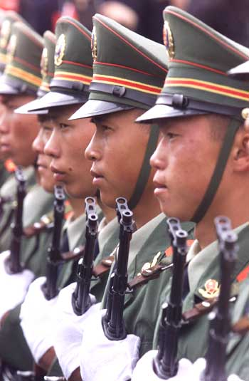 Chinese soldiers in formation.