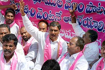 TRS legislators being taken into custody for protesting against the auction of Telangana lands by AP government