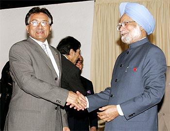 Former Pakistan President Pervez Musharraf with Dr Manmohan Singh