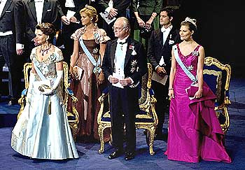 Members of the Swedish royal family attend the 2008 Nobel Prize ceremony in Stockholm