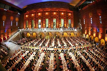 A view of the Gallery of Karl XI during the gala dinner for 2008 Nobel laureates at the Royal Palace in Stockholm