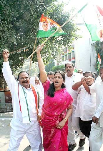 Congress workers celebrate in Hyderabad