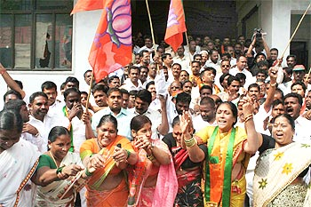 Another picture of BJP workers celebrating in Hyderabad