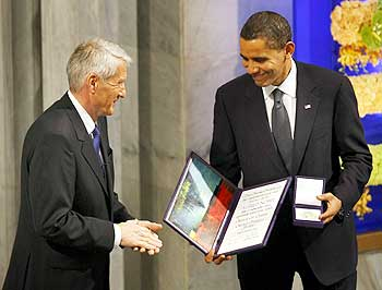 US President Barack Obama receives Nobel Peace prize