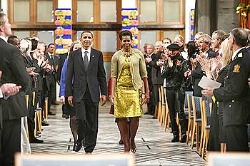 US President Barack Obama and his wife Michelle arrive for the Nobel ceremony