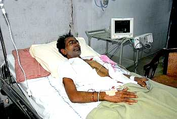 Telangana Rashtriya Samiti chief K Chandrashekhar Rao at the NIMS Hospital in Hyderabad