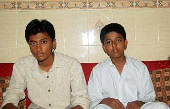 Roshan Khan's children,Talha and Huzaifa, at his Mumbai home