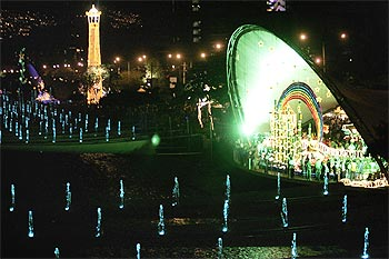 Christmas decorations are lit up in Colombia