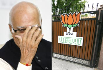 BJP senior leader L K Advani and the deserted party office in Delhi after the LS poll results