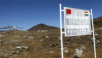 A signboard on the Indian side of the Line of Actual Control along the Indo-China border at Arunchal