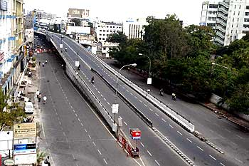 Deserted Hyderabad roads