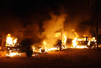 Miscreants set fire to vehicles during the funeral ceremony