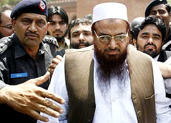 Lashkar founder Hafiz Saeed outside a Lahore court