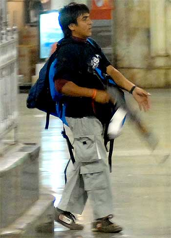 The lone arrested gunman Ajmal Kasab during the 26/11 attacks at CST