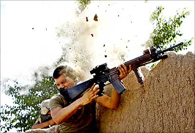 A US Marine in Garmsir in Afghanistan's Helmand province, May 18, 2008